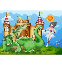 Superhero and green dragon at castle vector