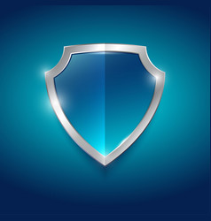 Symbol protection guard blue glossy shield vector
