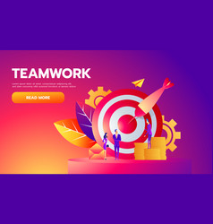 teamwork successful goal isometric concept vector image