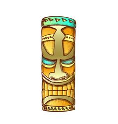 Tiki idol hawaiian wooden statue color vector