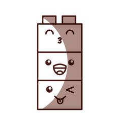 Toy blocks structure kawaii character vector