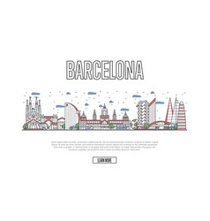 travel barcelona poster in linear style vector image
