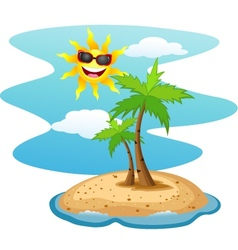 Tropical island with smiling sun vector image