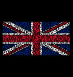 united kingdom flag pattern of dollar items vector image