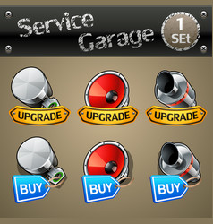 Upgrade and buy parts icons for race game-set 1 vector