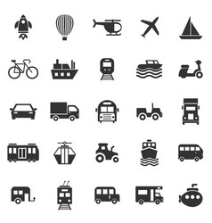vehicle icons on white background vector image