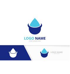 water drop logo combination waterdrop logotype vector image