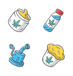 Weed products color icons set cbd drink and cream vector