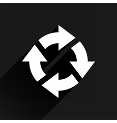 White arrow icon rotation sign on black background vector