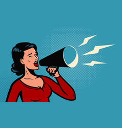 Woman holding a loudspeaker shouts announcing vector