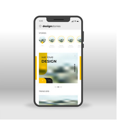 yellow design stories ui ux gui screen for mobile vector image