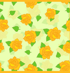 Yellow rose with green leaf seamless pattern vector