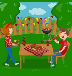 young people cooking and eating bbq while sitting vector image