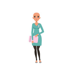 Young woman after chemotherapy bald woman vector