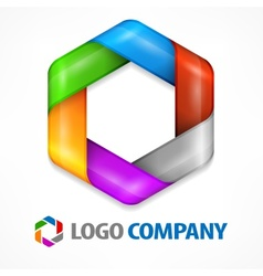 Color hexagon on white vector image vector image