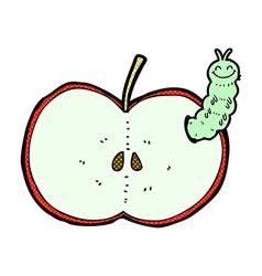 comic cartoon bug eating apple vector image vector image