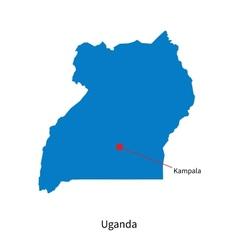 Detailed map of Uganda and capital city Kampala vector image vector image