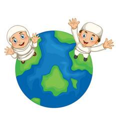 muslim boy and girl on earth vector image