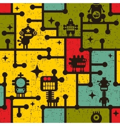 Robot and monsters colorful seamless pattern vector image vector image