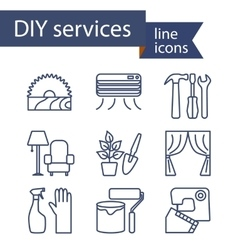 Set of line icons for DIY services vector image vector image