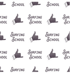 surfing school old style pattern design summer vector image vector image