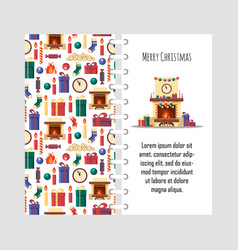 template christmas card with festive vector image