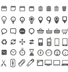 Web icons collection isolated on white vector image vector image