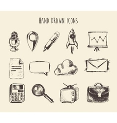 Collection Hand Drawn Doodle Network Icons Sketch vector image vector image