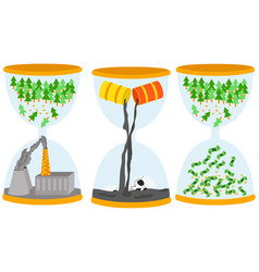 ecology problem concept sandglasses with oil vector image vector image