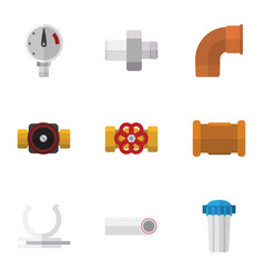 flat icon plumbing set of water filter connector vector image
