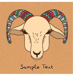 Hand drawn goat on canvas vector
