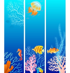 Vertical sea life banners vector image vector image
