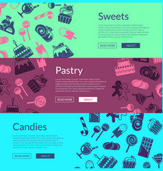 web banner template with flat style sweets vector image vector image
