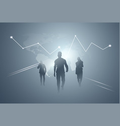 business people group silhouette team over finance vector image vector image