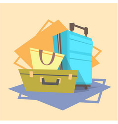 luggage icon summer sea vacation concept vector image vector image