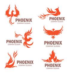 phoenix company slogan flat set vector image