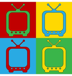 Pop art TV icons vector image