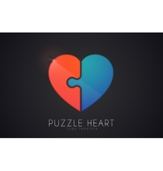 Puzzle heart Love logo design Heart logo design vector image