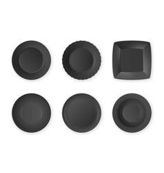 realistic black food empty plate icon set vector image vector image