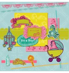 Scrapbook Design Elements - Baby Arrival Set vector image vector image