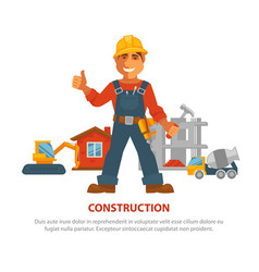 construction advertisement banner with man in vector image vector image