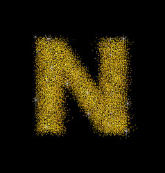 gold dust font type letter n vector image