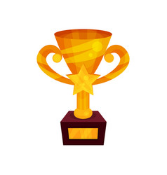 gold winner cup with star on a pedestal golden vector image vector image