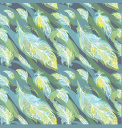 green feather pattern vector image