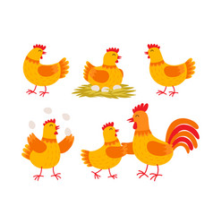 happy hen cartoon character in different poses vector image vector image