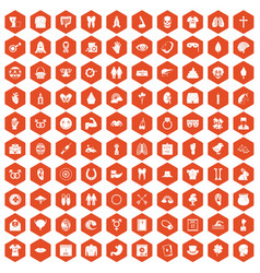 100 spring holidays icons hexagon orange vector