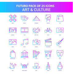 25 blue and pink futuro art and culture icon pack vector