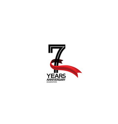 7 years anniversary logotype flat black color vector