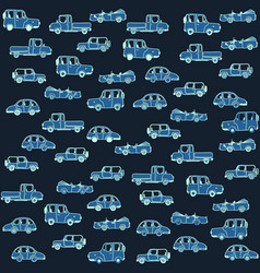 a funny pattern with cartoon cars seamless vector image