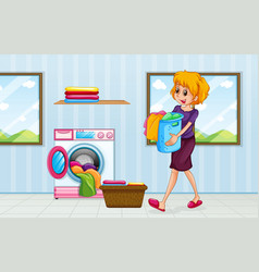 A mom doing laundry vector